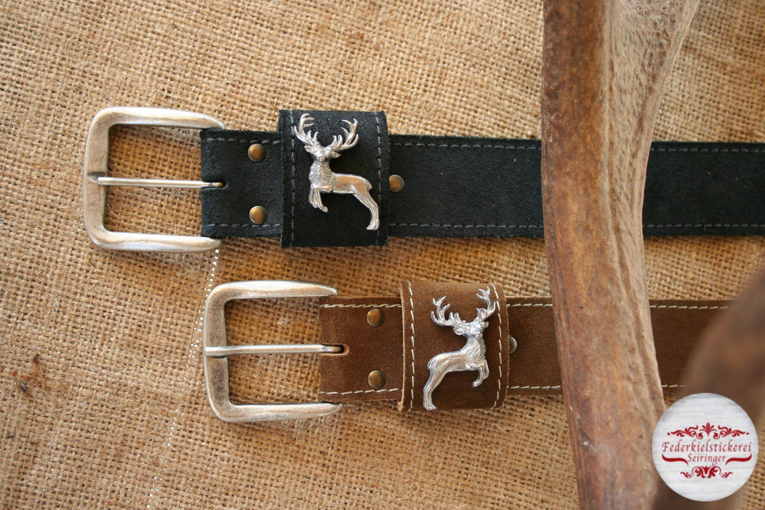 Ledergürtel mit Hirsch