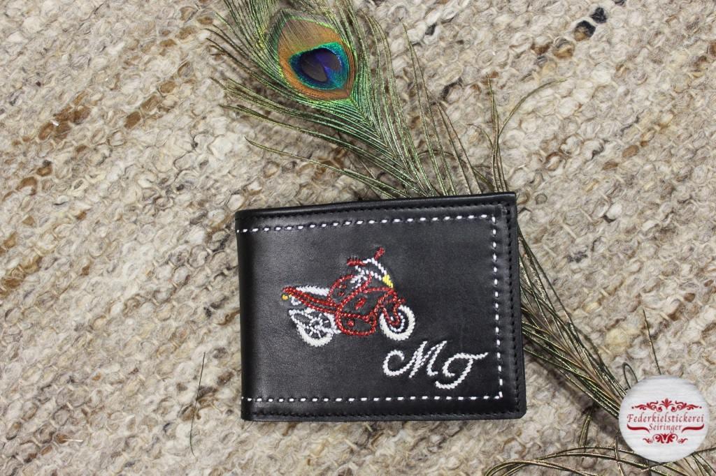 Geldtasche mit Motorrad