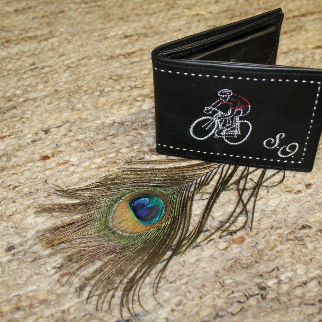 Geldtasche mit Radfahrer