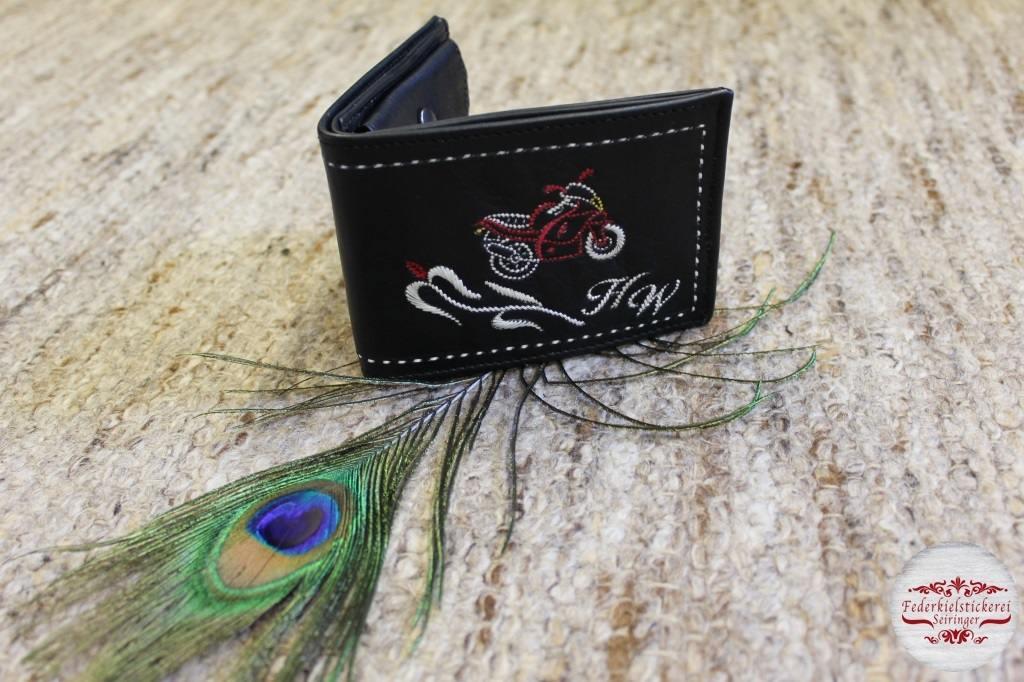 Geldtasche mit Motorrad und Blume