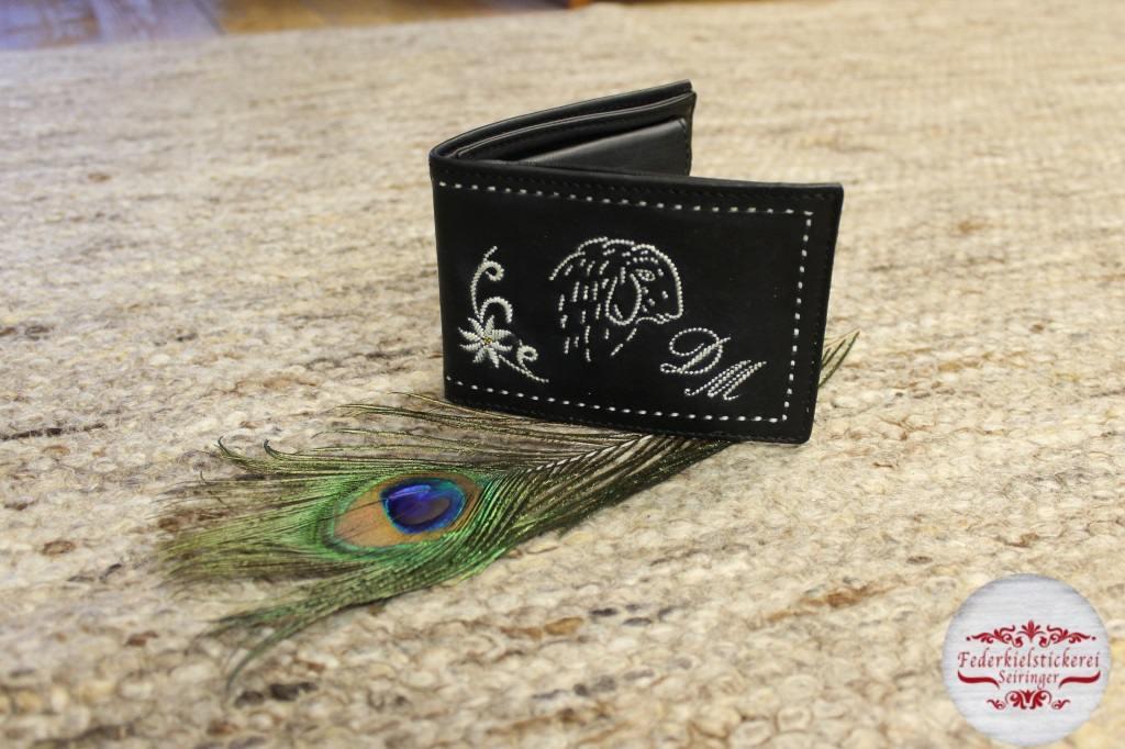 Geldtasche mit Schaf und Blume