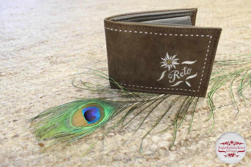 Braune Geldtasche mit Edelweiß