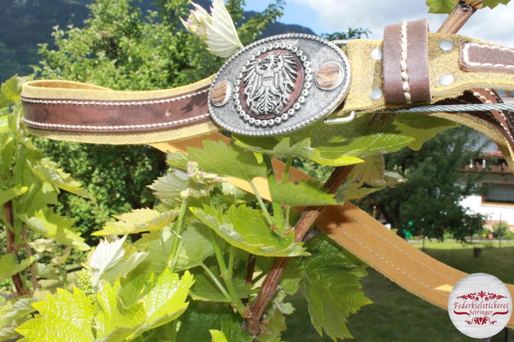 Gürtel mit Adler und echten Hirschhorn Münzen