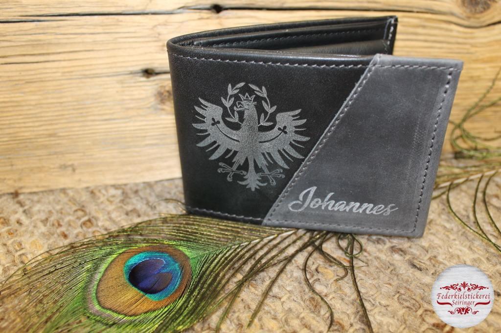 Geldtasche mit Adler und Namen