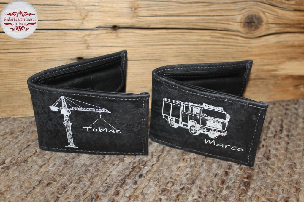 Kleine Geldtaschen mit gelaserten Motiven