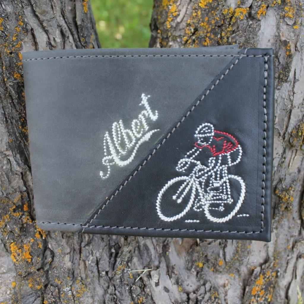 Zweifärbige Geldtasche mit Radfahrer